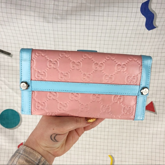 f6e5eb51bf81 Gucci Bags   Custom Painted Cotton Candy Leather Wallet   Poshmark